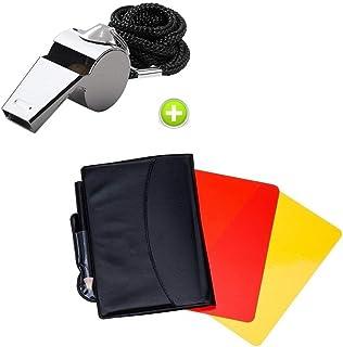 comprar comparacion Giveet Metal silbato con deportes árbitro tarjeta tarjeta de juego, rojo amarillo y metal de acero inoxidable Entrenador S...