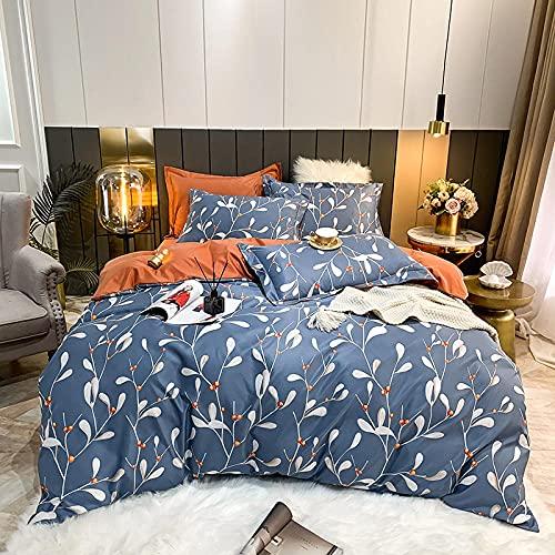 funda de edredón para cama individual-Sábanas satinadas de 4 piezas conjuntos de camas brillantes súper suaves, 1 x cubierta de edredón, 1 x sábana cama, 2 x fundas de almohada, juego completo de cam