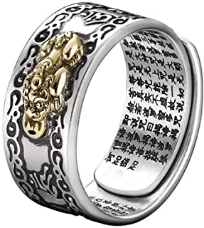 UNVERSAL FENG SHUI PIXIU MANI MANTRA PROTECTION WEALTH RING QUALITY BEST - Feng Shui Amulet Wealth Lucky Open Adjustable Ring Buddhist Jewelry Ring