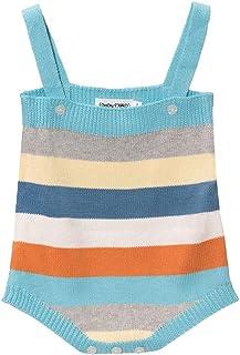 Baby Mood Farbiger Strampler mit quadratischem Ausschnitt und Träger mit Verschluss an der Vorderseite mit Knöpfen an der Unterseite aus 100 % Baumwolle.