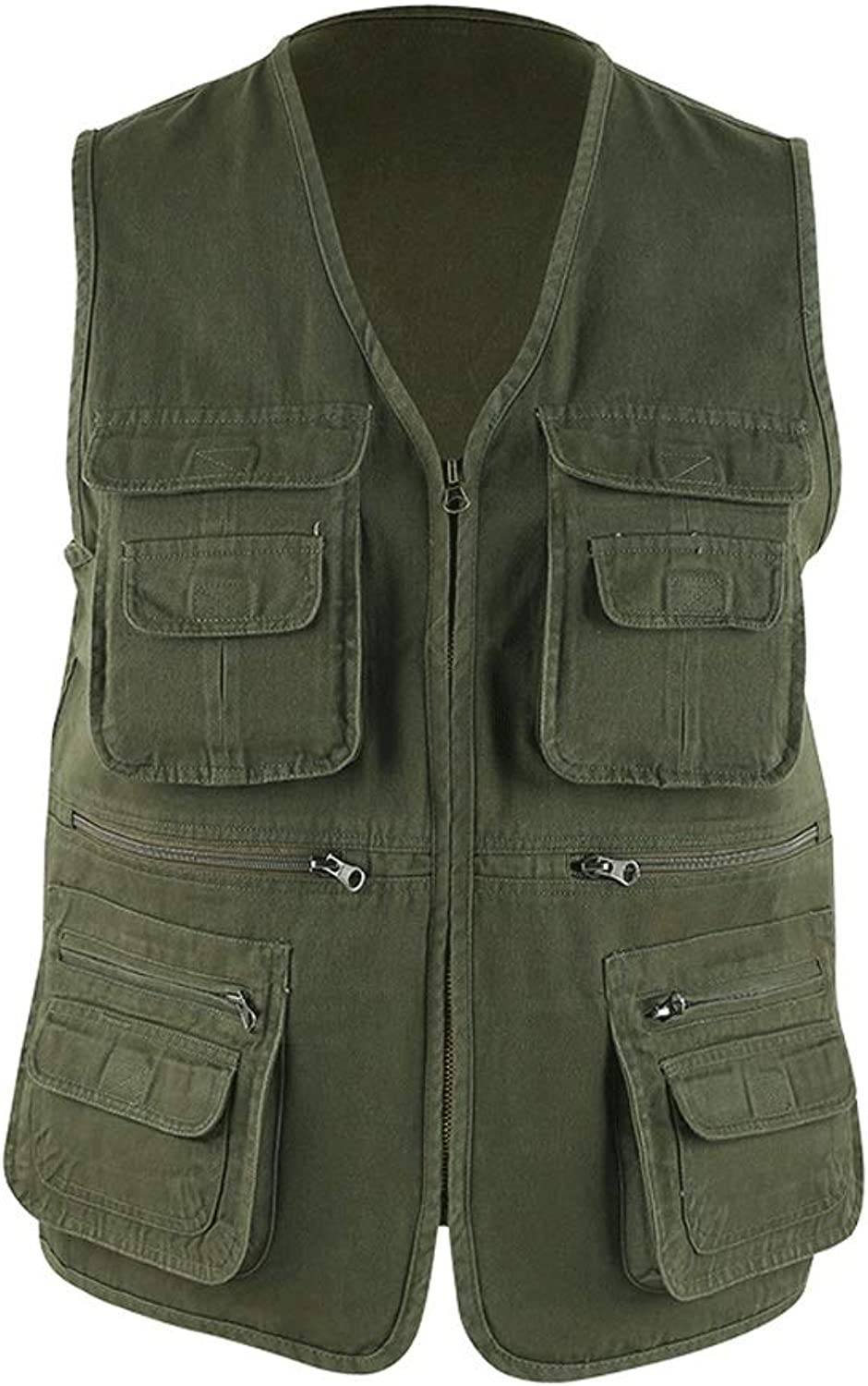 Tooling Vest Cotton Fabrics Photography Fishing Vest Multi-Pocket Vest Multifunctional Vest Spring and Summer Vest (color   Green, Size   2XL)