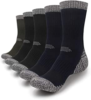 Hiking Socks Mens Moisture Wicking Thick Padded Combed Cotton Sock Trekking Outdoor Performance 5 Pack