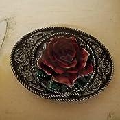 Choppershop Flower Red Rose Metal belt buckle