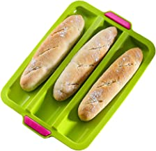 Silicone French Bread Pan Baguette Tray Loaf Pan Bread Roll Baking Pan Bread Mold 3 Gutter Oven Toaster Pan Silicone Sandw...