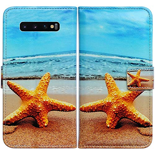 Bfun Packing Galaxy S10 Plus Case,Bcov Starfish Pattern Wallet Flip Leather Cover Case with Credit Card Holder ID Card Slot Kickstand for Samsung Galaxy S10 Plus/S10+