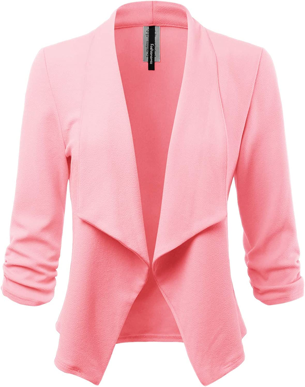FASHIONOLIC Women's Stretch 3/4 Gathered Sleeve Open Blazer Jacket (Made in USA)
