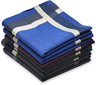 Cotton Handkerchief for Men, Soft Hanky with Classic Stripe, 6 Pieces, Gift Set