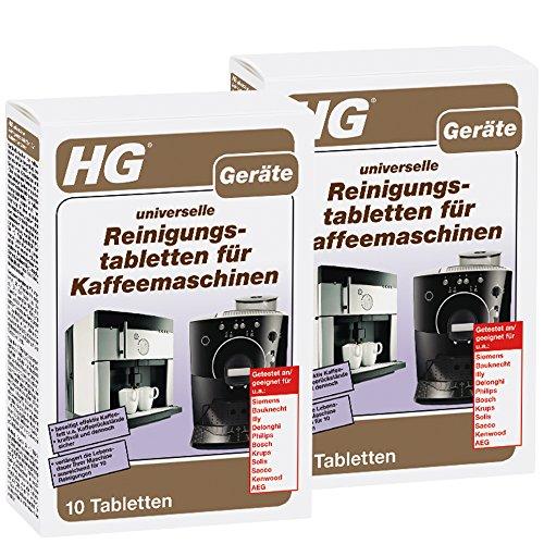 HG Universelle Reinigungstabletten für Kaffeemaschinen 2er pack (2x 10 st.) – Entfernt Beläge und Pflegt Kaffeevollautomaten