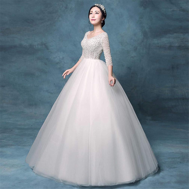 Wedding Dress, Europe and America Elegant Waist Slim Long Sleeve Sexy VNeck High Quality Organza Bright Diamond Embellishment Cathedral Dress