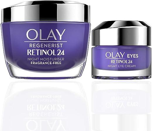 Olay Regenerist Favourites Set, Retinol 24 Night Face Moisturiser and Eye Cream Moisturiser with Retinol and Vitamin B3