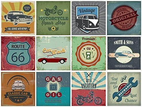 Motors Retro Vintage Car Decorative Tile Stickers Set 12 Units 6x6 inches Peel Stick Tile Stickers product image