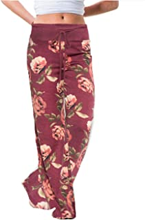iChunhua Women's Comfy Stretch Floral Print Drawstring...