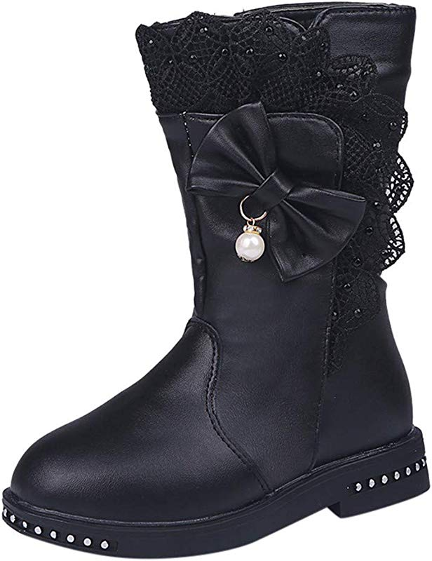 Kauneus Girl S Waterproof Lace Bowknot Side Zipper Fur Lined Tall Winter Boots Toddler Little Kid Big Kid