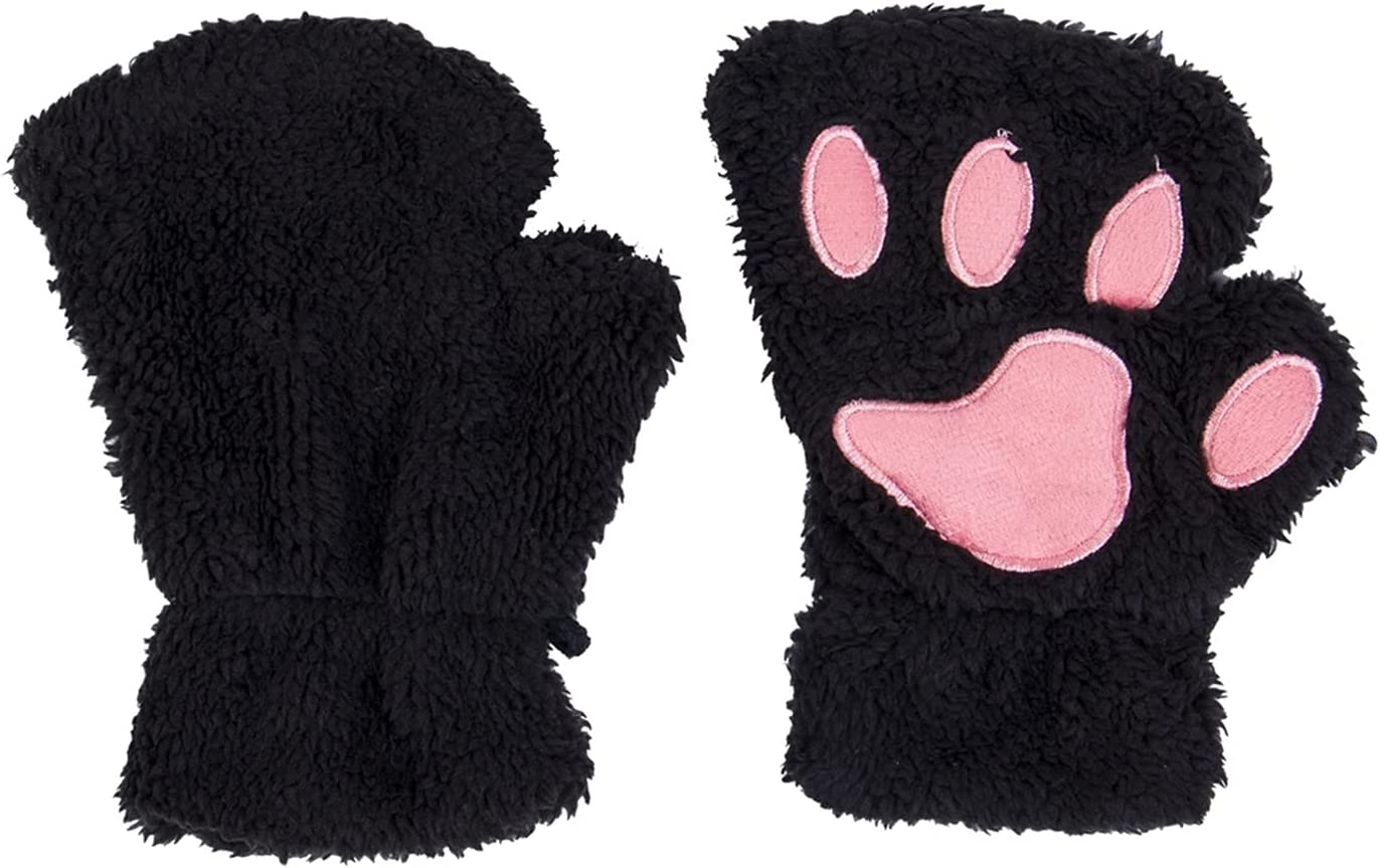 JSJJAWS Winter Gloves Gloves Lovely Women Warm Winter Mitten Plush Glove Costume Half Finger Soft Gloves for Girls (Color : Black)