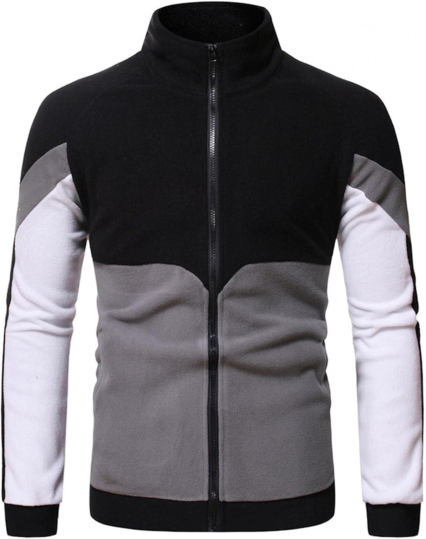 Sweatshirts for Men,Casual Color Block Novelty Pullover Long Sleeve Quarter Zip Pullover Men with Pocket Hoodies