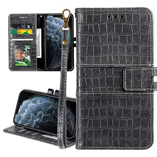Nadoli Ledertasche für Samsung Galaxy A8 2018,Krokodil Muster Luxus Männer Frauen Pu Standfunktion Flip Handy Schutzhülle Brieftasche mit Kartenhalter und Handschlaufe,Grau