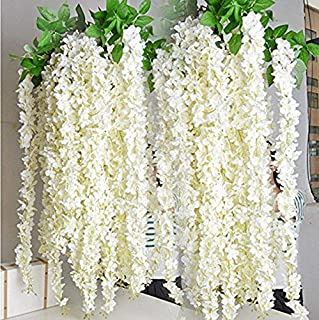 Miyaya 24 Pieces Realistic Artificial Silk Wisteria Vine Ratta Silk Hanging Flower Plant for Home Party, Wedding Decor and Other Various Events - Each White