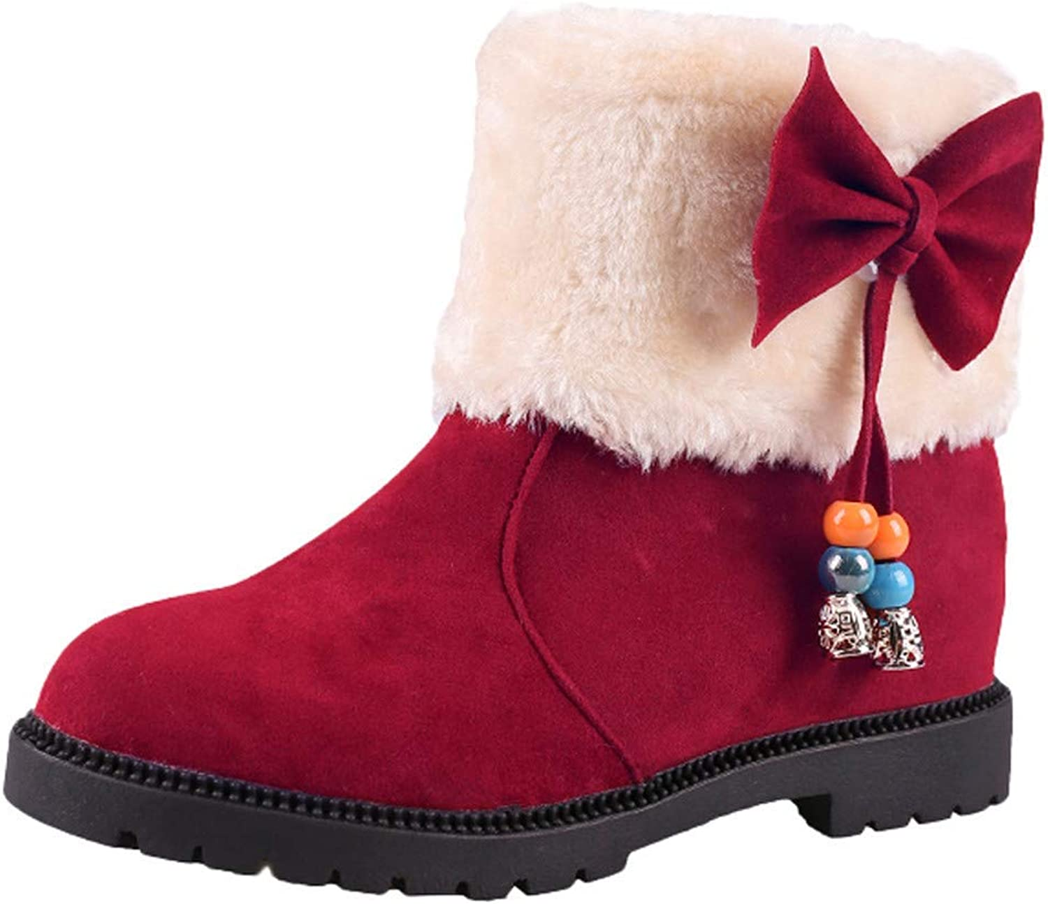 JaHGDU Women's Suede Loop Round Toe Wedges shoes Keep Warm Slip On Snow Cotton Boots Wild Tight Casual Quality Super Elegant Leisure for Womens Red Black