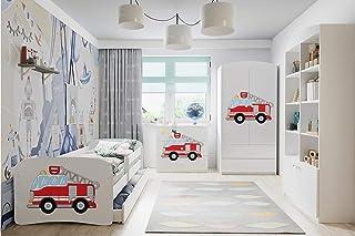 WFL GROUP Mobilier de Chambre pour Enfants - Lit, Armoire, Commode, Bibliothèque - 4 pièces - Pompiers - 70 x 140 cm