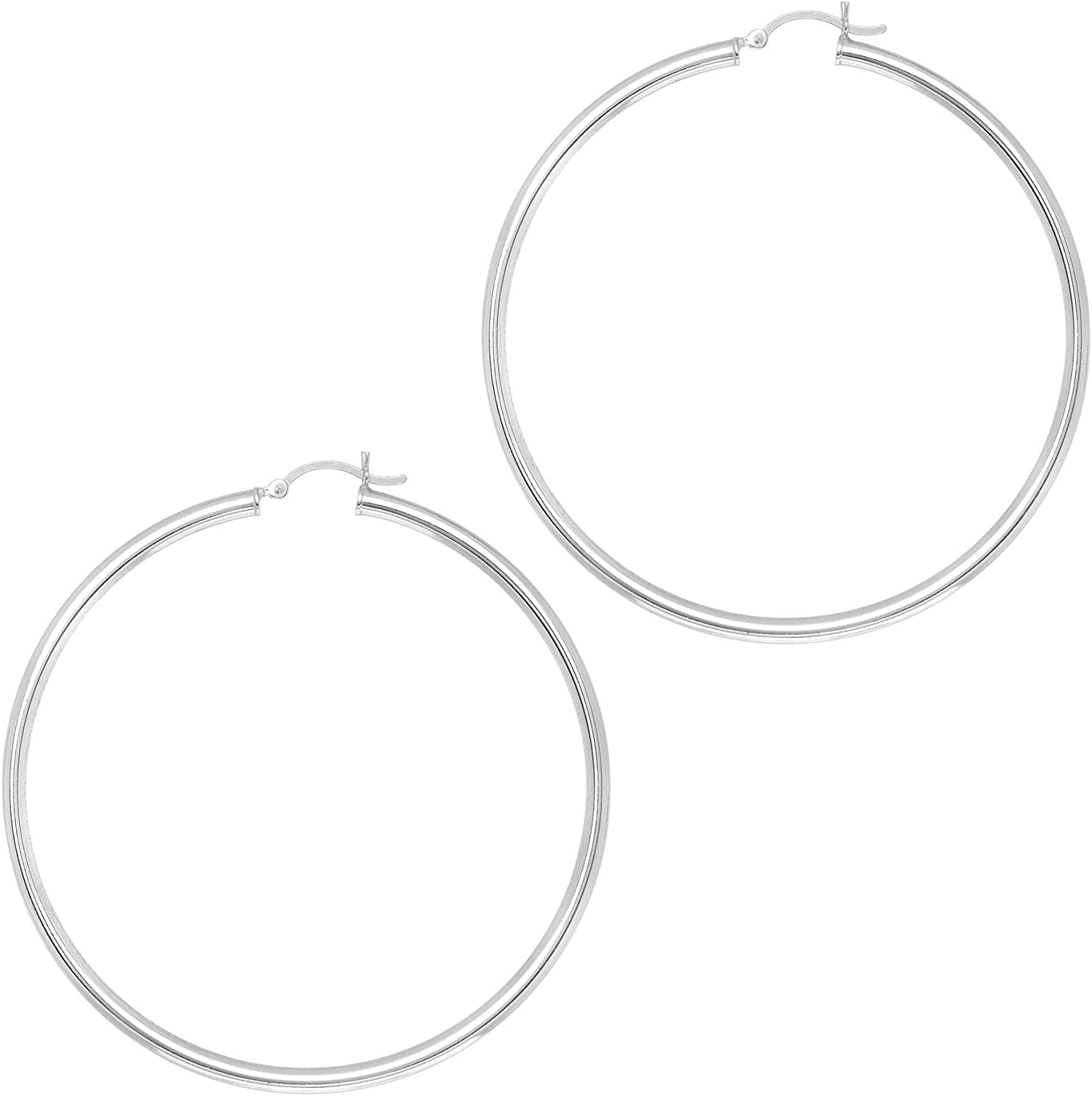 Silver with Rhodium Limited Special Price Finish 3.95X60mm Earring All trend rank Shiny Hoop