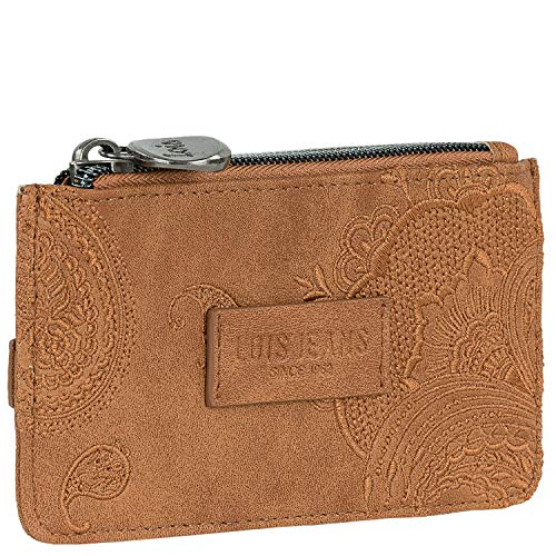 Lois - Purse and Card Holder. Printed linner. Exterior Purse with Zipper. Exterior compartments for Cards. Synthetic Leather. Embroidered Design. Gift Box 302602, Color Camel