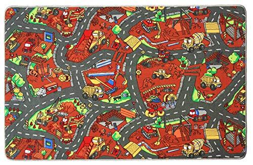 Spielteppich mit Straßen - Baustelle, 140x200cm, Leicht zu pflegen, Fußbodenheizung Geeignet, Spielmatte, Auto-Kinderteppich für Jungen