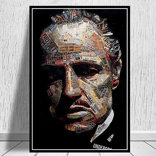 wZUN El Padrino periódico Collage Cartel de película Pintura Arte impresión en Lienzo y póster Cuadro de Pared de la decoración de la Pared del hogar habitación 60X90CM