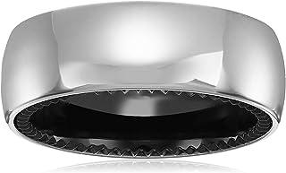 Men`s 8mm Sapphire Tungsten and Titanium Classic Satin Finish with Black Interior Wedding Ring Band