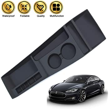 PROBASTO Tesla Model S Center Container//Cup Holder/Tesla Console Container Center Storage Box for Model S 2012 2013 2014 2015 JY Silicone Black