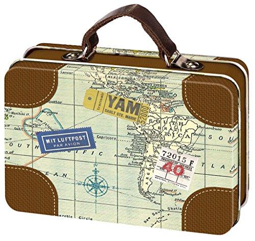 Moses Fernweh Mini-Reisekoffer | Reise Aufbewahrung | Für Geldgeschenke, Metall, Mehrfarbig, 10.5 x 7.3 x 3.8 cm