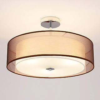 LED Lámpara de techo 'Pikka' (Moderno) en Marrón hecho de Textura, Tela, Tejido, Seda e.o. para Salón & Comedor (3 llamas, E27, A+) de Lindby   lámpara de techo textil, lámpara de techo, lámpara