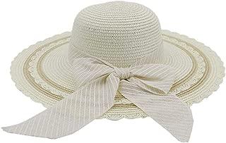 Lady's Sun hat Hat Women 2019 Jazz Hat Seaside Sunscreen Beach Wheat Hat Sun Hat Bow Stripes Fashion Visor Sun hat (Color : White, Size : 56-58CM)