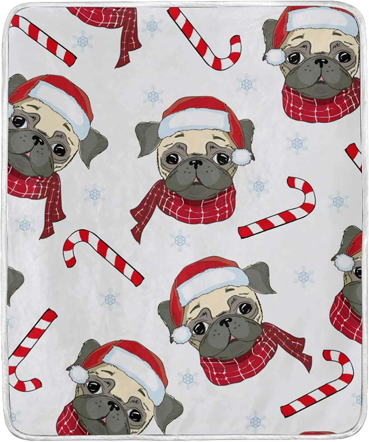 Christmas Dog Pug with Candy Cane Throw Blanket for Couch Bed Living Room Chair 50x60 inch Adult Kid Women Soft Velvet Blanket Warm Fuzzy Decorative