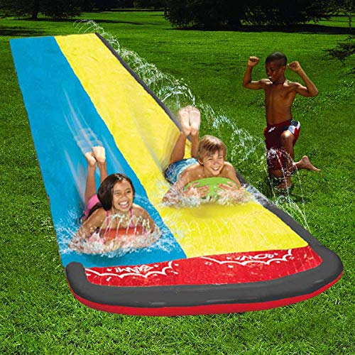 AJH Inflatable Water Slide 20ft Double Racer Pool Kids Summer Park Backyard Play Fun Outdoor Splash Slip N Slide Wave Rider