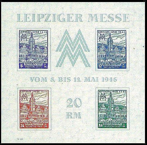 Goldhahn SBZ Block 5 X postfrisch  Leipziger Messe WZ fallend 1946 Briefmarken für Sammler
