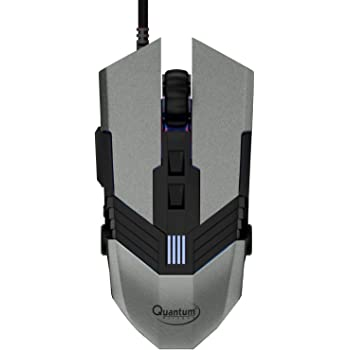 Quantum Snype 1.0 3200 DPI Wired USB Gaming Mouse with 7 Programmable Keys, Adjustable Weights & Nylon Braided Cable (Grey)