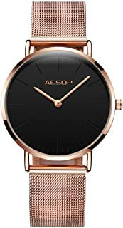 Fashion Watches for Women Watches Waterproof Ultra Thin Rose Gold Watch Stee Milanese Loop Band Simple Ladies Watch Womans Japanese Analog Quartz Movement Watch Synthetic Sapphire Mirror