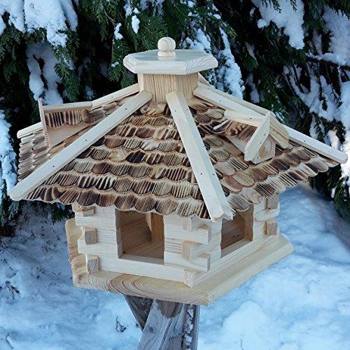 Sehr großes Vogelhaus Vogelhäuser Vogelfutterhaus Vogelhäuschen aus Holz Schreinerarbeit Gaube Natur XXL