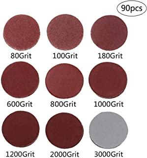 90-Pack 3 inch Sander Disc, DeSS Aluminium Oxide Hook & Loop Sanding Discs 10PCS Each of 80/100/ 180/600 /800/1000 /1200/2000 /3000 Grit