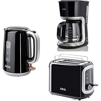 AEG - Hervidor de agua, Tostadora y Cafetera de Goteo, Color Negro ...
