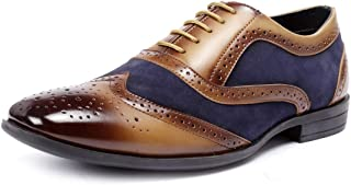 Bacca Bucci Mens Wingtip Dress Shoes for Men Business Casual Shoes, Brogues Formal Shoes,Lace up Oxford Shoes-Tan