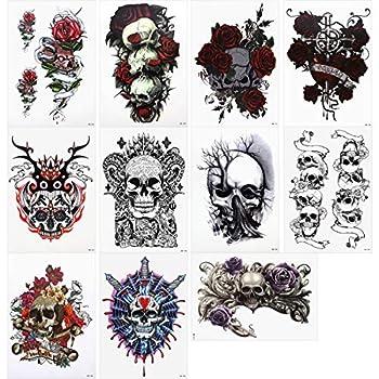 Lady Up 11 Sheets Temp Body Art Temporary Tattoos Fake Tattoo for Women Men Kid Biker Sugar Skull Flower Rose Pattern Waterproof Stickers