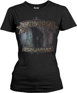 Unbekannt Bon Jovi New Jersey Frauen T-Shirt schwarz Band-Merch, Bands