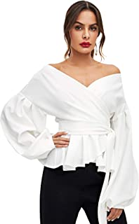 Women's Long Sleeve V Neck Ruffle Blouse Off Shoulder Tie...