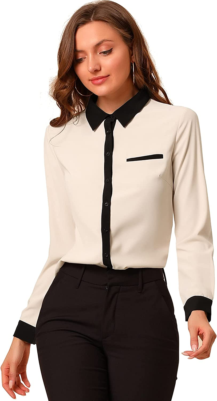Allegra K Women's Work Office Contrast Collar Lightweight Workwear Long Sleeve Shirt Blouse