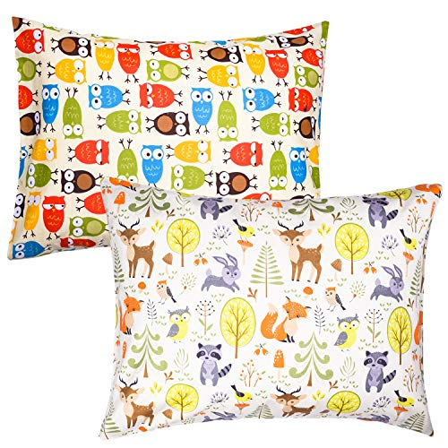 ZPECC 2Pack Toddler Pillows with Pillowcases - Hypoallergenic Baby Pillows for Sleeping 13 x 18, Soft 100% Cotton Kid Pillows for Nap, Travel, Toddler Cot, Bed Set, Machine Washable, Animal Party