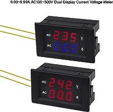 MakerFocu 2pcs Digital AC Voltage Meter 0.39inch AC100V~300V Voltage 0.00~9.99A Current Digital Voltmeter Gauge Tester High Brightness LED Display, High Precision AC Dual Display Current Voltage Meter