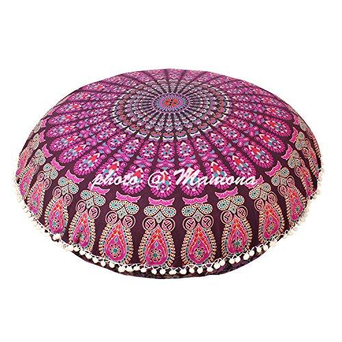 Maniona - Housse de coussin de méditation - Motif mandala violet - 81,3 cm
