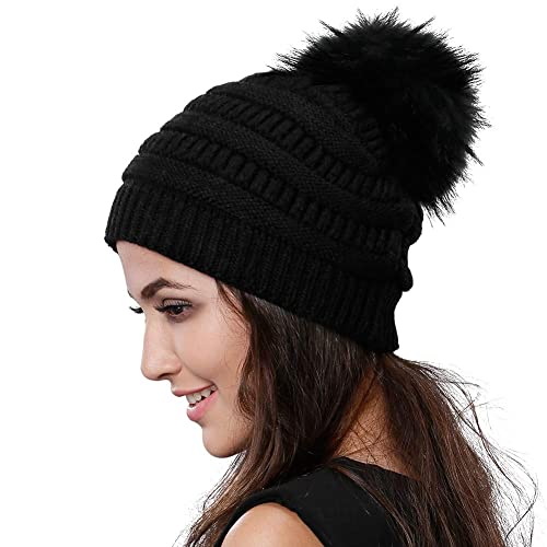 d6f49a4a695 Womens Winter Knit Beanie Hat Slouchy Skull Cap Real Fur Pom Pom Hats Cap  For Girls