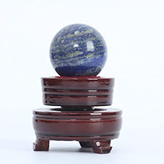 ruhong Natural Quartz Handmade Art 39mm Healing Crystal Lapis Lazuli Ball Stone Craft Christmas Home Decoration Gift Collection Fengshui Sphere with Free Stand